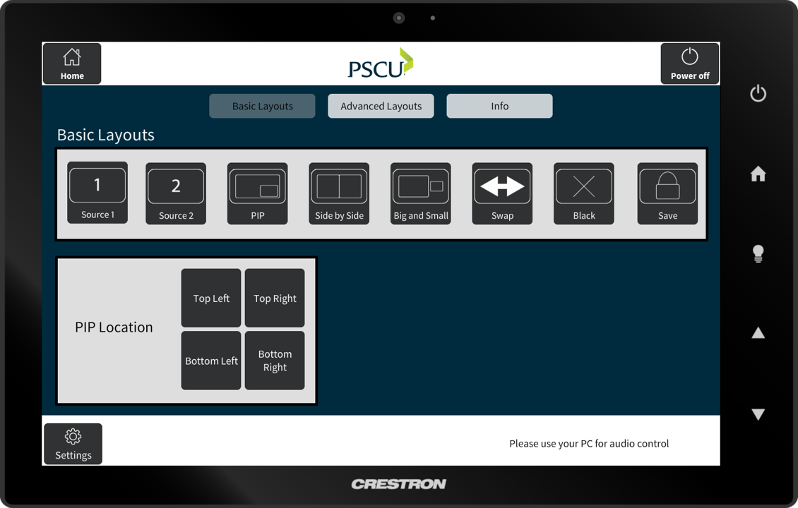 PSCU Crestron Panel for audio visual control