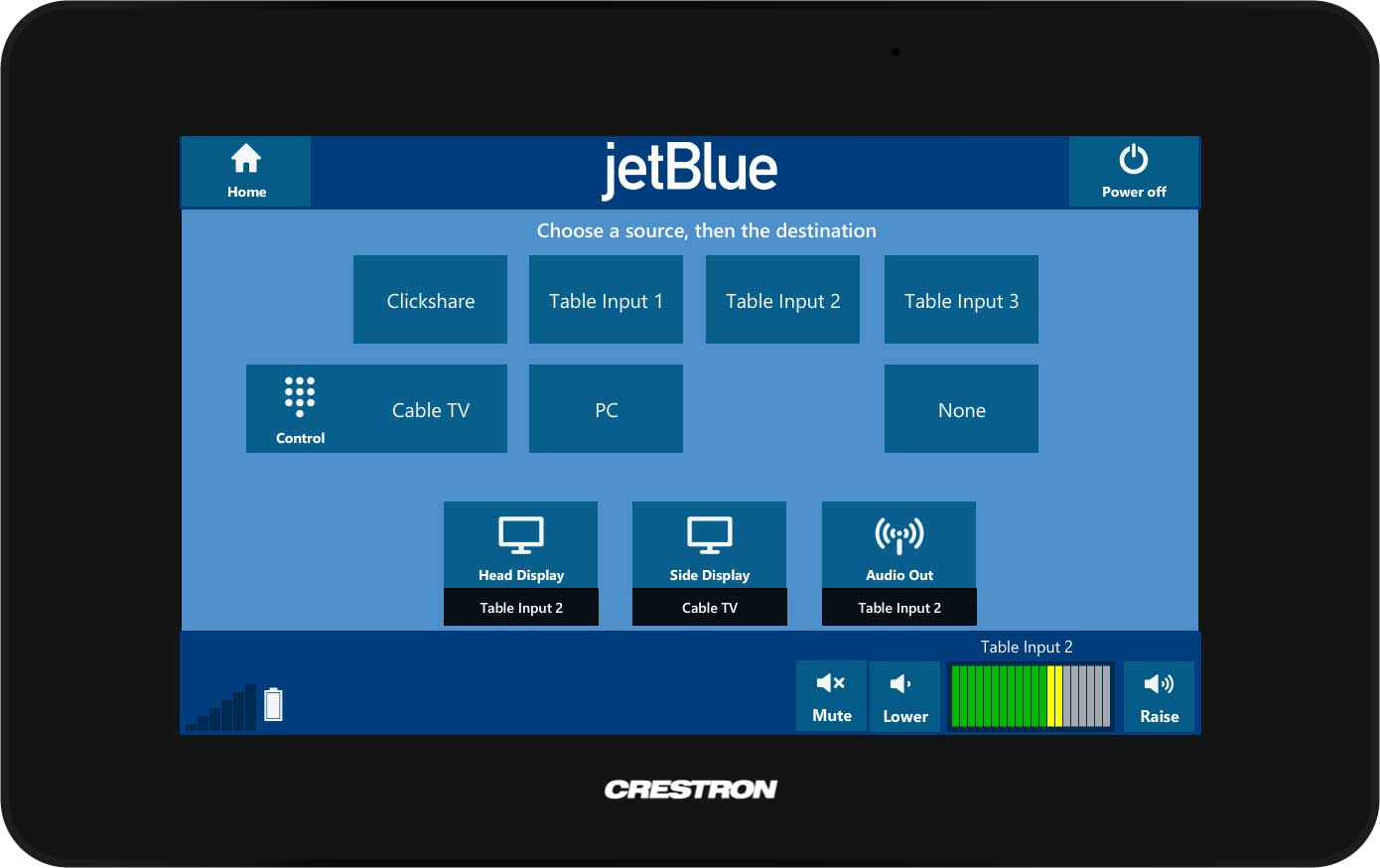 jetBlue custom Crestron touch panel