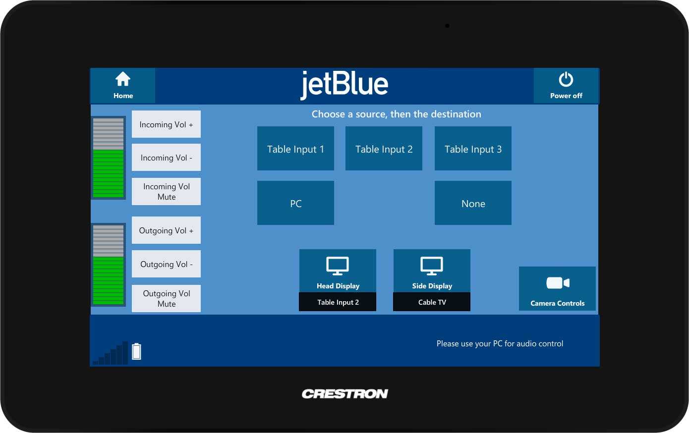 jwtBlue Crestron Touch Panel 2