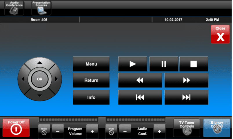 Pinellas County COCC Touch Panel Bluray Controls