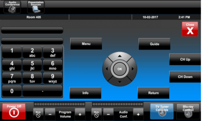 Pinellas County COCC Touch Panel TV Controls