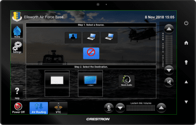 Ellsworth Air Force Base Touch Panel AV Routing